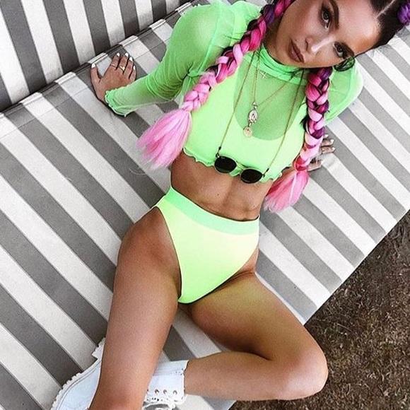 adf8270bbc Dolls Kill Other - Jaded London neon high rise swim bottom
